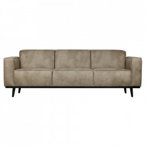 Canapea gri/neagra din poliuretan si lemn pentru 3 persoane Statement Be Pure Home