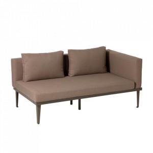 Canapea maro din aluminiu si textil pentru exterior 2 persoane Pascale La Forma