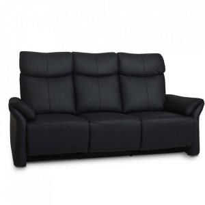 Canapea neagra din piele si metal pentru 3 persoane Luxor Furnhouse