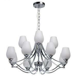 Candelabru argintiu/alb din metal si sticla cu 12 becuri Elegance Palermo MW Glasberg
