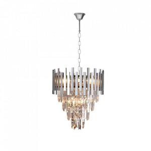 Candelabru argintiu din metal si cristal cu 9 becuri Aspen Milagro Lighting