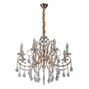 Candelabru auriu din metal si sticla cu 8 becuri MW-Light Crystal Adele MW Glasberg