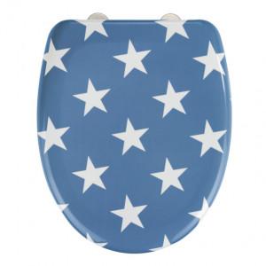 Capac albastru/alb din duroplast pentru toaleta Stella Wenko