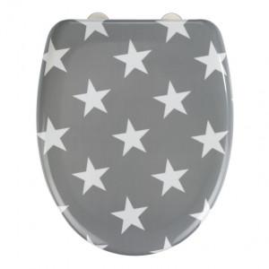 Capac gri/alb din duroplast pentru toaleta Stella Wenko