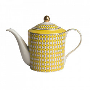 Ceainic alb/galben din portelan 1,1 L Chess Pols Potten