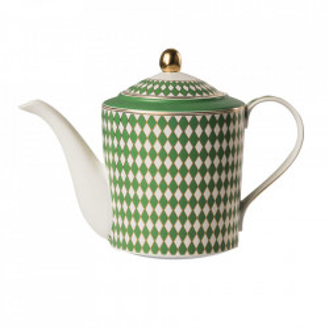 Ceainic alb/verde din portelan 1,1 L Chess Pols Potten