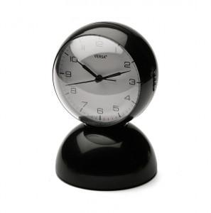 Ceas de masa rotund negru/alb din plastic 12x17,5 cm Black Alarm Versa Home