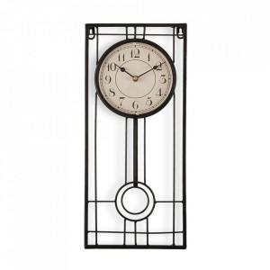 Ceas de perete dreptunghiular negru/maro din metal 20x45 cm Selis Versa Home