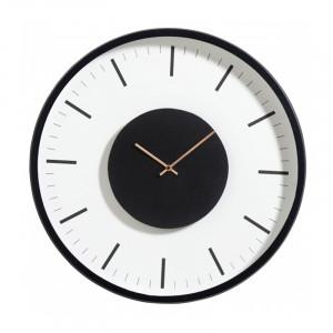 Ceas de perete negru/alb din metal si sticla 46 cm Clara Nordal
