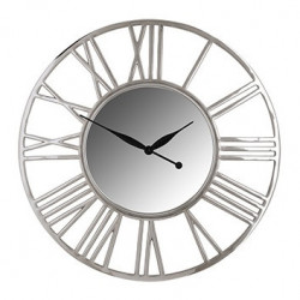 Ceas de perete rotund argintiu din aluminiu si sticla 81 cm Danell Richmond Interiors