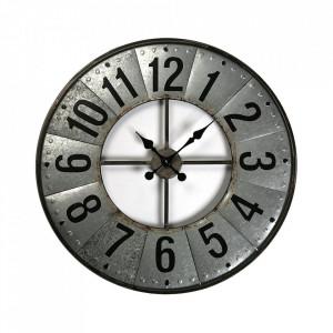 Ceas de perete rotund argintiu/negru din metal 69 cm Vigo Versa Home
