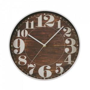 Ceas de perete rotund maro/alb din plastic 30 cm Riley Versa Home