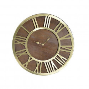 Ceas de perete rotund maro din lemn de mango si bronz 41 cm Gavin Giner y Colomer