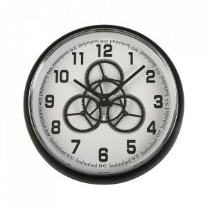 Ceas de perete rotund negru/alb din MDF si sticla 50 cm Charlie Versa Home