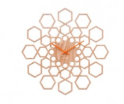 Ceas perete rotund maro din MDF 48 cm Sunshine Hexagon Present Time