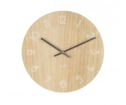 Ceas perete rotund maro din sticla 17 cm Clara Light Wood Present Time