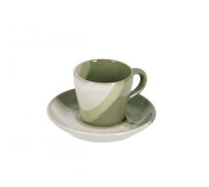 Ceasca alba/verde din ceramica cu farfurioara Naara La Forma