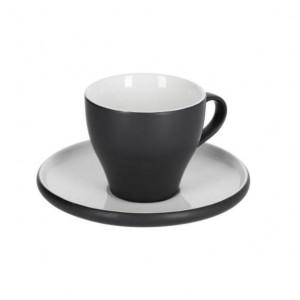 Ceasca cu farfurioara alba/neagra din ceramica 200 ml Sadashi Kave Home