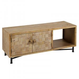 Comoda TV din lemn de brad, MDF si fier Carre Santiago Pons