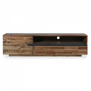 Comoda TV gri/maro din lemn de salcam si fier 170 cm Wotan II Invicta Interior