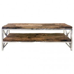 Comoda TV maro/argintie din lemn si inox 140 cm Kensington Richmond Interiors
