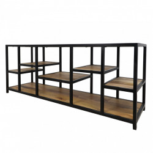 Comoda TV maro/neagra din lemn de mango 140 cm Levels HSM Collection
