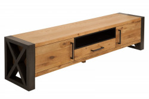 Comoda TV maro/neagra din lemn de stejar si metal 200 cm Thor Invicta Interior