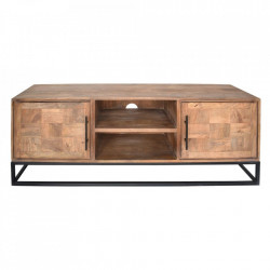 Comoda TV maro/neagra din lemn si fier 150 cm Lerato Denzzo