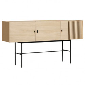 Comoda TV maro/neagra din lemn si metal 180 cm Array Woud