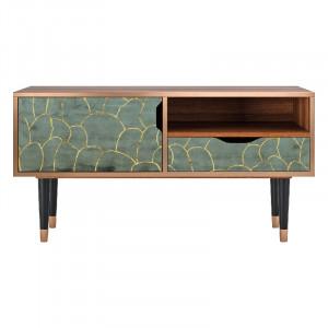 Comoda TV multicolora din MDF si lemn 114,2 cm Magnificent Water Lily Sara Furny