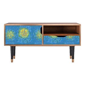 Comoda TV multicolora din MDF si lemn 114,2 cm Van Gogh Lights Sara Furny