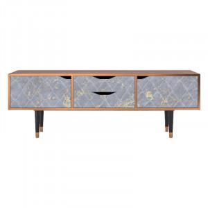 Comoda TV multicolora din MDF si lemn 170 cm Golden Smoke Eve Furny