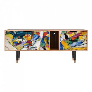 Comoda TV multicolora din MDF si lemn 170 cm Improvisation 26 By Wassily Kandinsky Furny