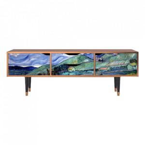 Comoda TV multicolora din MDF si lemn 170 cm Landscape From Saint-Rémy By Vincent Van Gogh Eve Furny
