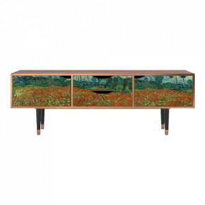 Comoda TV multicolora din MDF si lemn 170 cm Poppy Field By Vincent Van Gogh Eve Furny