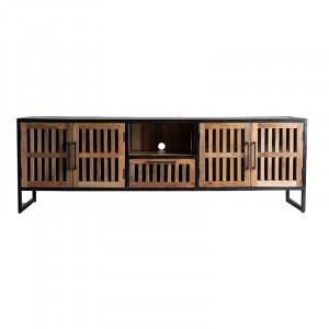 Comoda TV neagra/maro din lemn 200 cm Gaffney Vical Home