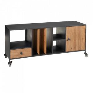 Comoda TV neagra/maro din lemn de brad si otel 120 cm Olyia Ixia
