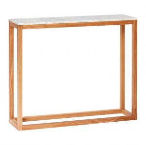 Consola alba/maro din lemn si marmura 90 cm Marble Hubsch