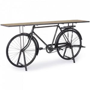 Consola maro/neagra din lemn de mango si otel 193 cm Bicycle Bizzotto