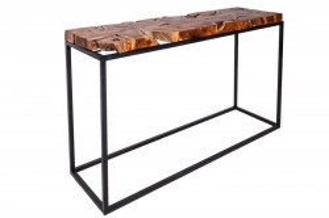 Consola maro/neagra din lemn si metal 115 cm Teak Root Invicta Interior
