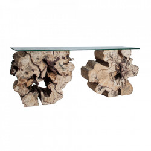 Consola maro/transparenta din lemn si sticla 200 cm Beyneu Vical Home