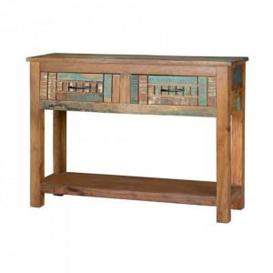 Consola multicolora din lemn reciclat 106 cm Katia Giner y Colomer