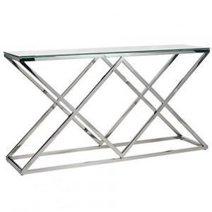 Consola transparenta/argintie din sticla si inox 150 cm Paramount Richmond Interiors