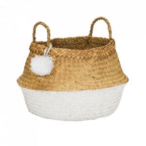 Cos alb/maro din fibre naturale Pompom Large Kids Depot