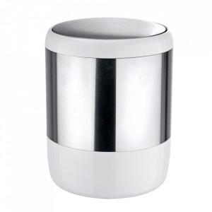 Cos de gunoi argintiu/alb din inox si plastic 6 L Loft Wenko