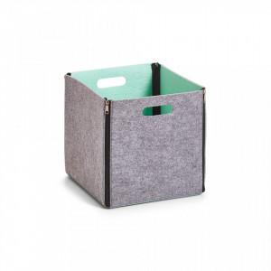 Cos gri/albastru din fetru Storage Basket Two-Tone Aqua Square Zeller