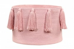 Cos roz din bumbac 30x45 cm Tassels Pink Lorena Canals