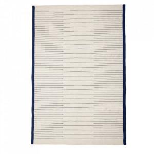 Covor alb/albastru din textil 200x300 cm Woven Rug Hubsch