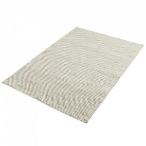 Covor alb antic din lana si bumbac 200x300 cm Tact Woud