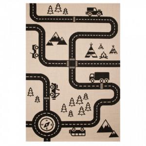 Covor crem/negru pentru copii 170x120 cm Road Map Zala Living
